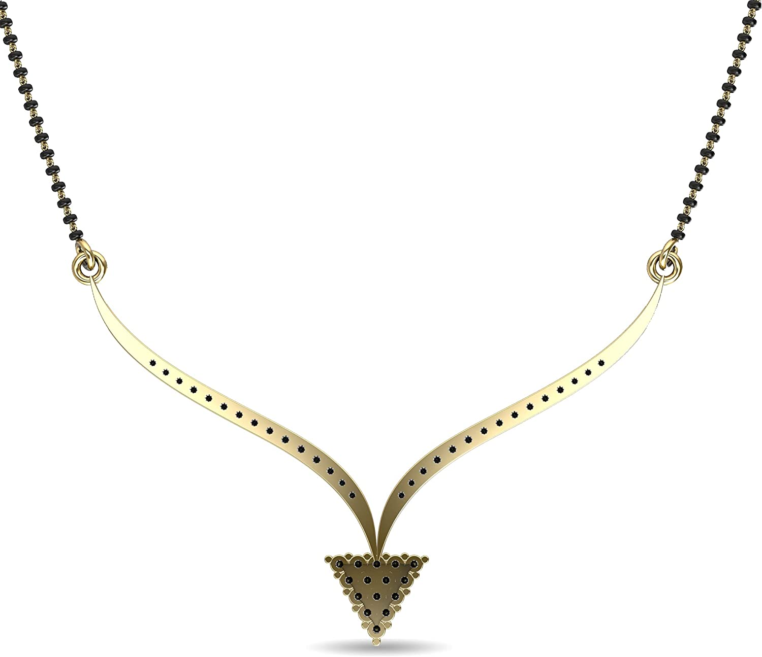 14K Fine Gold Indian Bollywood Traditional 0.45 ct Natural Diamond Mangalsutra (H-I Color, I Clarity) Pendant Necklace for Women with Studded Long Black Beaded Gold Ethnic Chain Wedding Bridal Symbolic Designer Set Classy Simply Look Jewelry