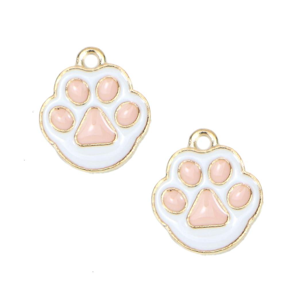 Monrocco 20 pcs Dog Paw Print Pet Charm Enamel Dog Paw Pendants 15x19mm