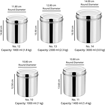 Vinod Stainless Steel Deep Dabba - 1000 ml, 1400 ml, 1800 ml, 2300 ml, 3000 ml - 5 Piece Set, Silver, Medium (VINODDEEPDABBA5PCSET)