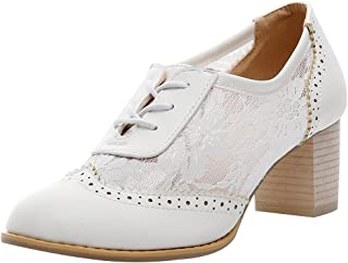 ANUFER Womens Elegant Lace Bridal Wedding Shoes Block Heel Oxfords Dress Shoes White SN02107 US11