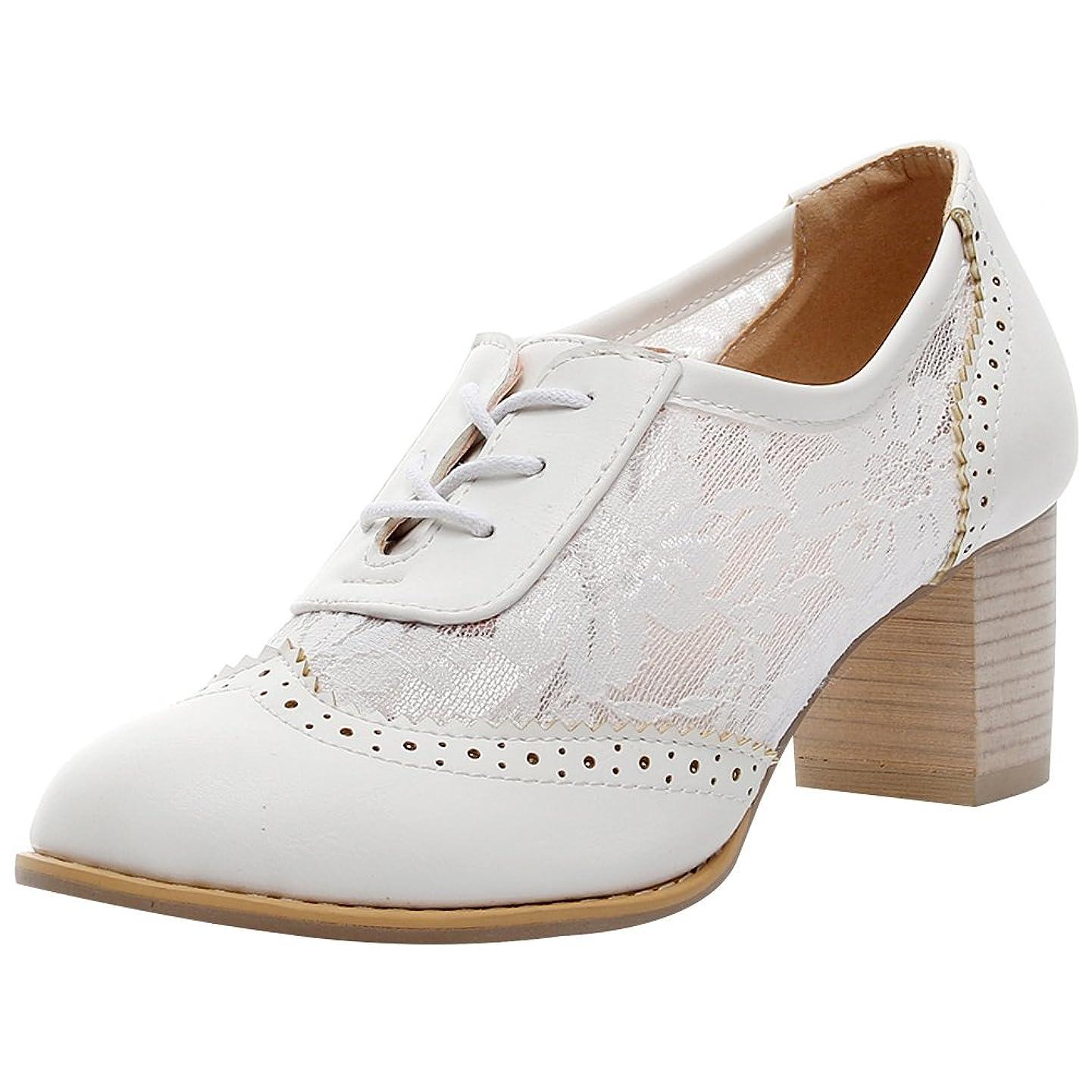 Jamron Women Summer Breathable PU&Lace Upper Oxfords Shoes Elegant Block Heel Brogue Dress Shoes