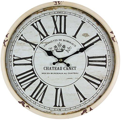 Perla pd design Horloge murale en métal avec vitre Design vintage Chateau Canet Laqué blanc vieilli env. Ø 30 cm