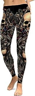 Yying Leggings Halloween Cráneo Leggins Impresos Pantalones Cintura Alta Mujeres Athleisure Push Up Sportleggings Pantalon...