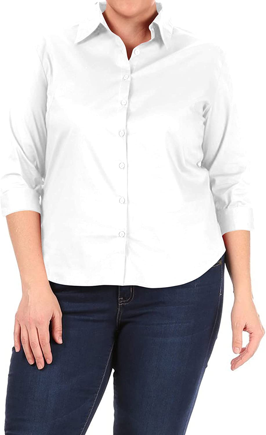 Women's Plus Size Casual Stretch 3/4 Sleeve Office Work Button Down Shirts Blouse Top