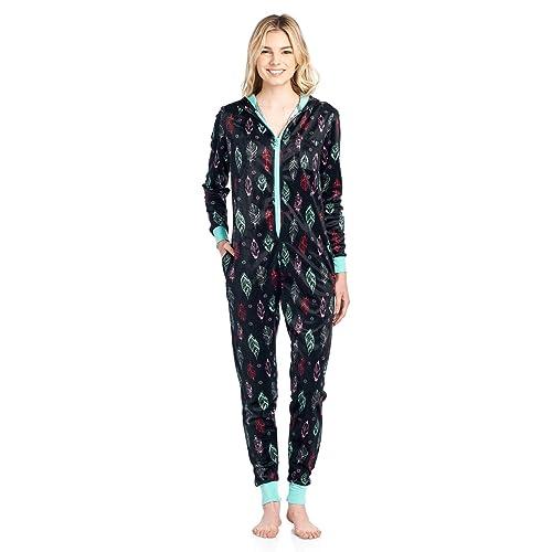 Ashford   Brooks Women s Fleece Hooded One Piece Pajama Union Jumpsuit e7d84a7cc