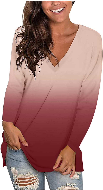 Oiumov Sweatshirts for Women, Women's Teen Girls Gradient Long Sleeve Hoodies Casual Loose Hooded Top Shirts Blouse