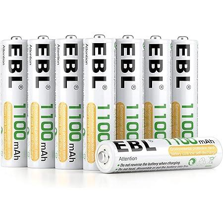 EBL 8PCS Piles Rechargeables AAA 1100mAh 1,2V Ni-MH, Haute Capacité Réelle Plus de 1200 Cycles, avec Boîte de Stockage de Piles