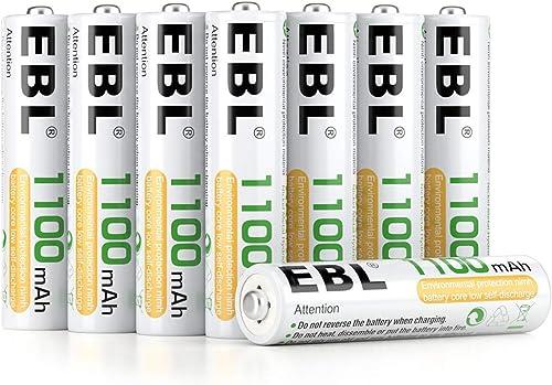 EBL 8PCS Piles Rechargeables AAA 1100mAh 1,2V Ni-MH, Haute Capacité Réelle Plus de 1200 Cycles, avec Boîte de Stockag...