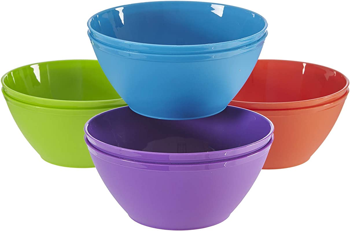 Fresco 6 Inch Plastic Bowls For Cereal Or Salad Set Of 8 In 4 Classic Colors