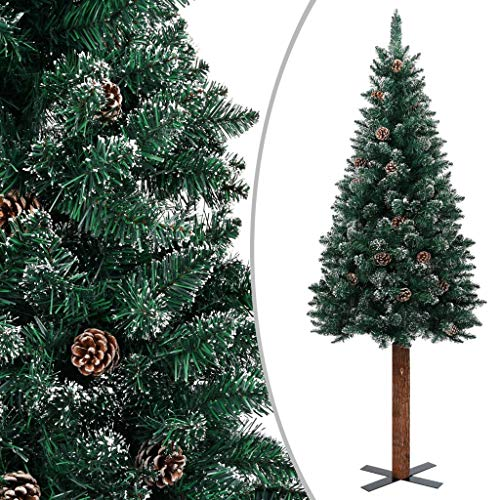 Famehours Slim Christmas Tree with Real Wood and White Snow Green 210 cm