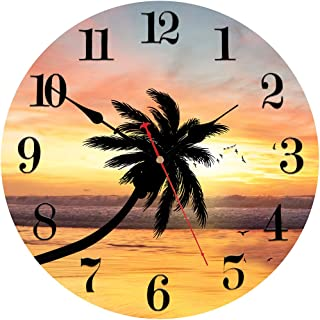 VIKMARI Silent Wall Clock Non Ticking, 8 inch Quartz Excellent Accurate Sweep Movement Wood Wall Clock, Modern Decorative for Kitchen, Living Room,Dining Room,Bedroom,Office (Beach Sunset Style)