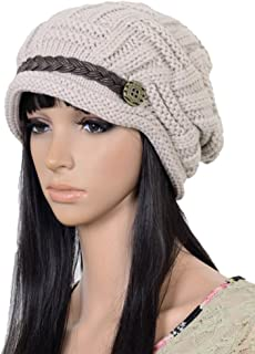 UZZO Trade; Fashion Woman Lady Girl Warm Flexible Handmade Knitted Crochet Baggy Beret Cap Hat Embellishment by one PU Braids for Woman Outdoor Sports +Free Logo Key Ring