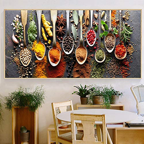 Canvas Wall Art Kitchen Colorful Spice and Spoon In Table Canvas Painting Print for Living Room Bathroom Home Decor 60x120cm Unframed