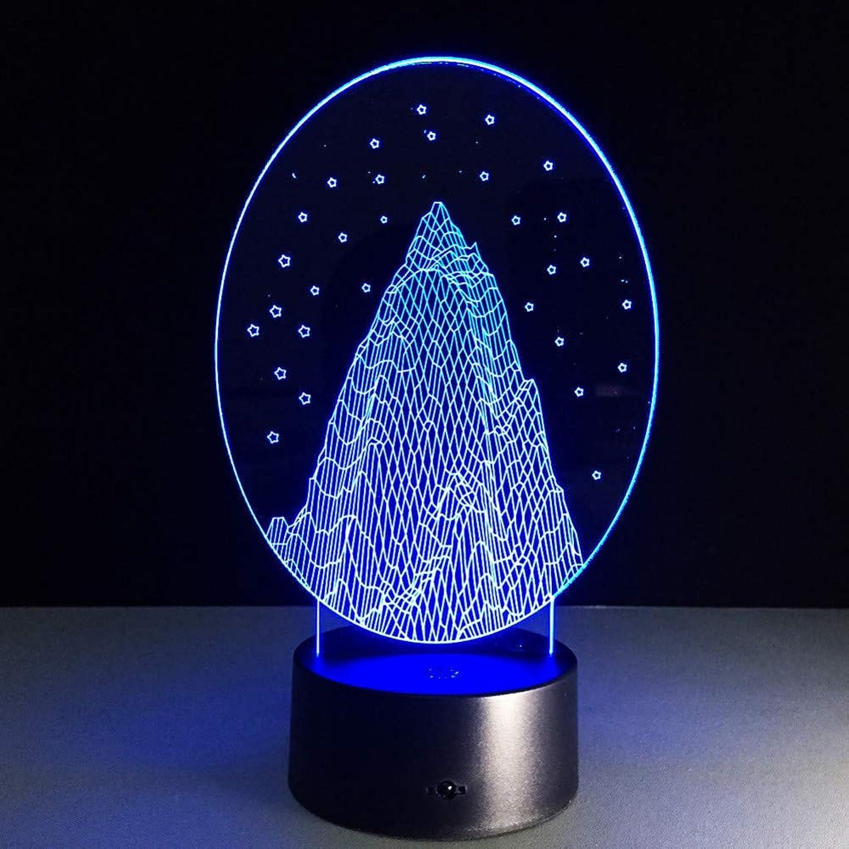 Laofan Snow Mountain 3D Led Nachtlicht Atmosphre Bulbing Licht Acryl Optische Tuschung 3D Tischlampe Baby Schlafen Licht,Fernbedienung