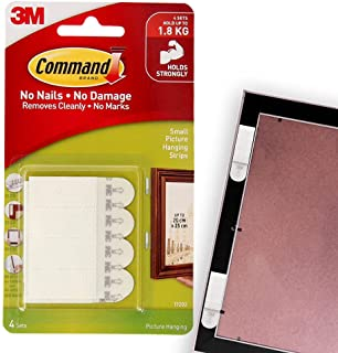 Command 17202ES Picture Hanging Strips, Small, Holds 1.8 Kg. whole pack, white color. 4 pairs/pack, Decorate Damage-Free