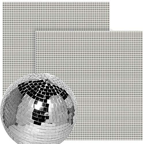 BcPowr 3600 Stück selbstklebende Mini-Glasspiegel, Mosaikfliesen, echtes Glas, Basteln, Mini-quadratische und runde Spiegel, Mosaikfliesen für Discokugel und DIY-Dekoration, 0,5 x 0,5 cm