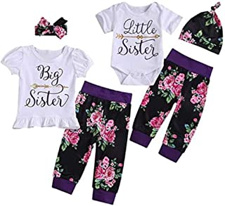 Puseky Baby Girls Big Little Sister Matching Family Clothes Short Sleeve Romper+Floral Pants+Headband Outfits Set