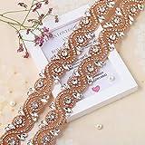 Wedding Rhinestone Trim Appliques by The Yard for Bridal Belt Sash or Wedding Dresses-Rose Gold&Clear-1 Piece(36.22'' x 1.57'')