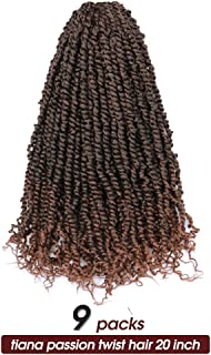 Toyotress Tiana Passion Twist Hair 20 inch 9 Packs Ombre Brown Pre-Twisted Passion Twist Crochet Hair Pre-Looped Passion Twists Crochet Braids Synthetic Braiding Hair Extension (20 Inch-9 Pcs, T1B/30)