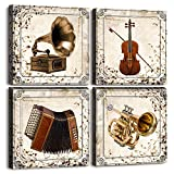 Restoring Ancient Ways Wall Art for Living Room Canvas Pictures Artwork Musical Instruments Bathroom Family Wall Decor Watercolor Painting 4 Piece Framed Bedroom Wall Decorations Office Home Decor