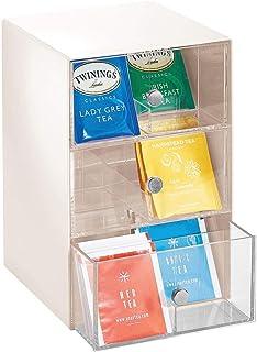 mDesign Organizador de cocina con 3 cajones de plástico – Mini cajonera para bolsas de té, sobres de café, edulcorantes y más – Caja de té en plástico con 18 compartimentos – beige y transparente