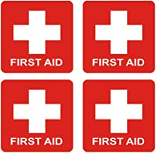 dealzEpic - First Aid Cross Sticker Sign - Self Adhesive Peel and Stick Vinyl 1st Aid Decal Symbol - 3.94x3.94 inches   Pack of 4 Pcs