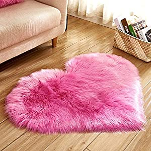 Heart Shaped Soft Faux Sheepskin Fur Area Rugs for Home Sofa Floor Mat Plush, 3ft x 2.2ft (Pink)