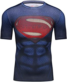 Black Red Superman Compression Top For Workout Cool Superhero Costume Shirt