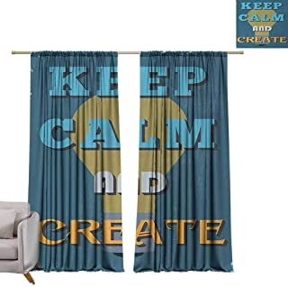berrly Customized Curtains Keep Calm,Vintage Motivational Quote Be Creative Poster Design Coming Up with New Ideas,Multicolor W72 x L96 Decor Curtains by