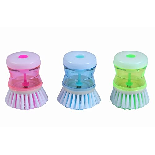Generic Dish / Washbasin Plastic Cleaning Brush With Liquid Soap Dispenser(03 Pcs.)
