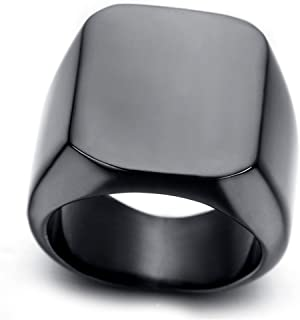 Stainless Steel Men Ring Black Polished Size 10
