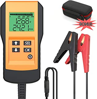 LEICESTERCN Battery Tester for Automotive Digital 12V Car Battery Load Test and Analyzer for Flood, Gel, AGM, Deep Cycle Battery (Digital Battery Tester)