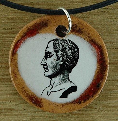 Echtes Kunsthandwerk: Schöner Keramik Anhänger mit Gaius Iulius Caesar; Julius Cäsar, Rom, Kaiser, Philosoph, Geschichte Lehrer, Unterricht