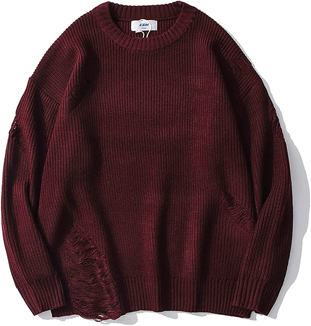 Couple Hip Hop Destroyed Oversized Selling Knitted Men Wine Red Austin Mall Sweaters