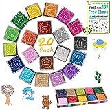 DazSpirit Tampons encreurs artisanaux, 20 Couleurs Tampons encreurs d'empreintes digitales Partenaire Bricolage Lavable pour Kid Imagination Rubber Stamp Scrapbooking Card Making DIY Décoration
