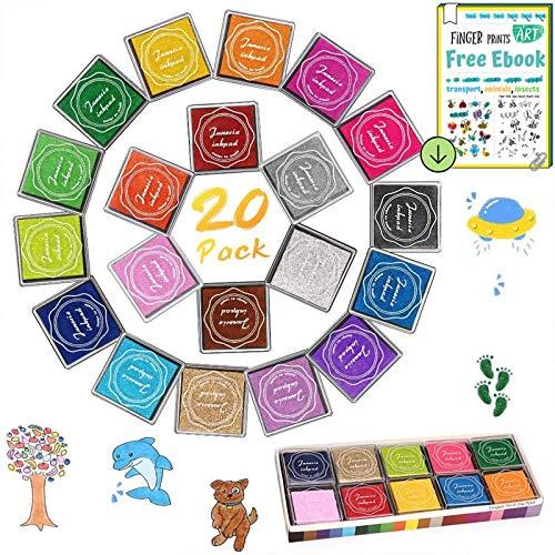 DazSpirit Stempelkissen Set, Fingerabdruck Stempelkissen Ungiftig Abwaschbar Stamp Pad mit 4 Blätter Fingerabdruck Stempelbuch für Papier Handwerk Stoff, Scrapbook, Kinder Geburtstags (20 Pack)