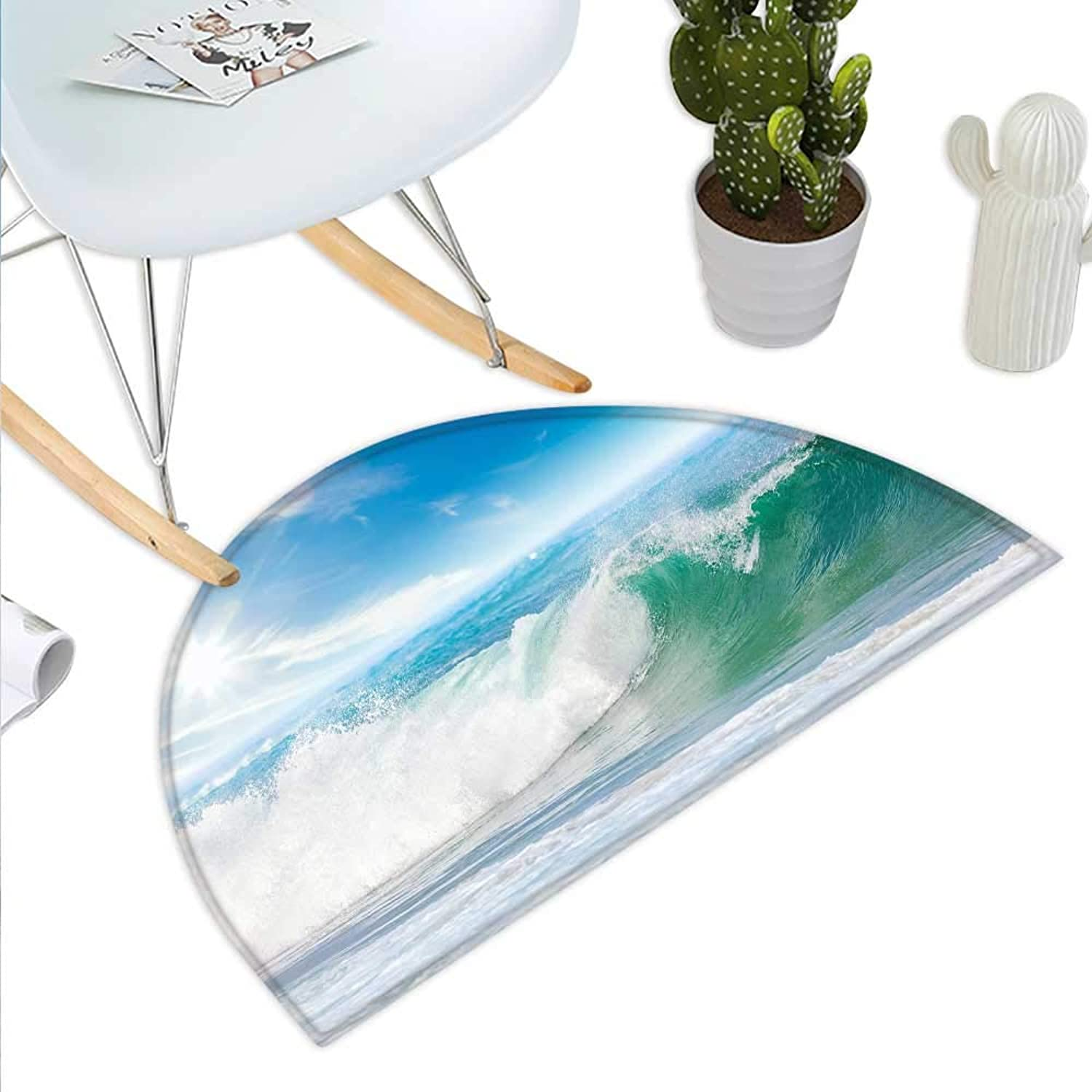 Wave Semicircle Doormat Summer Vacation Theme Seascape with Wave and Clear Sky Travel Surf Halfmoon doormats H 43.3  xD 64.9  Light bluee Fern Green White