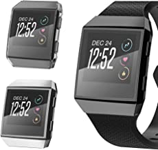 CooBES[2 Pack Compatible with Fitbit Ionic Case, Ultra-Thin TPU Plated Bumper with Clear Screen Protector Full Cover Shell Slim Lightweight Frame Compatible Fitbit Ionic Smart Watch (Silver+Clear)