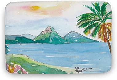 Soft Indoor Doormat, St. Lucia Caribbean Dreams with Sunset and Pitons Peaks Door Mats Rug for Bathroom Kitchen Bedroom Entry