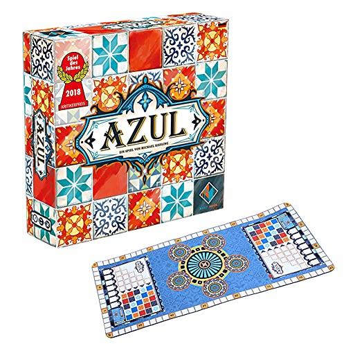 Wan&ya Juego de Juegos de Mesa de Estrategia Azul Color Ceramic Tiles Juego de Cartas con cojín de Silicona, Juegos de Mesa de Rompecabezas interactivos para niños Adultos (versión en inglés)