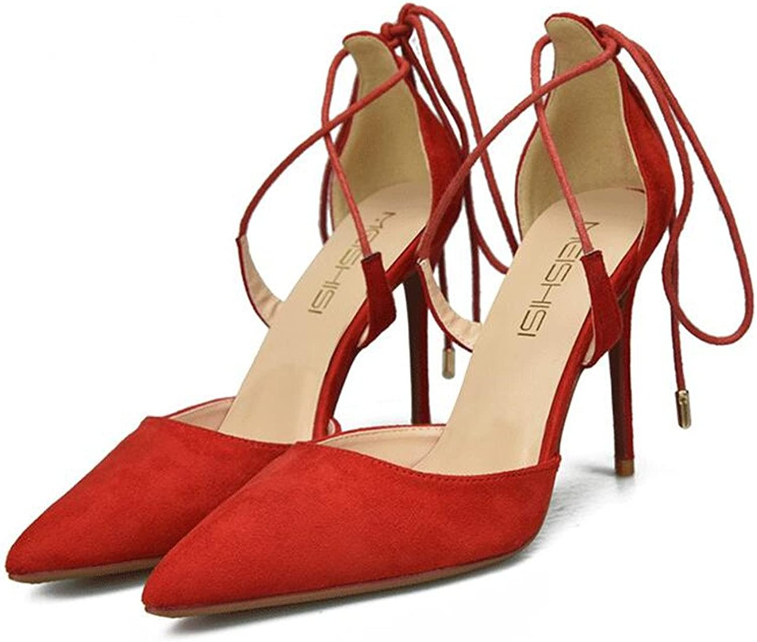 XIUWU Women's Suede Lace up Pumps Party Sandles High Heels for Ladies