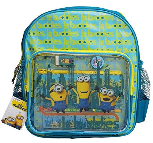 Minions 3 D Rucksack + Federtasche gefüllt + Bleistift, Radiergummi, Lineal, Anspitzer + EXTRA-ZUGABE