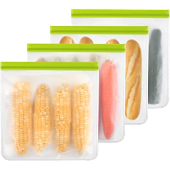 Reusable Gallon Freezer Bags - 4 Packs, Reusable Freezer Bags Easy Seal & Leak-Proof, BPA-FREE PEVA Washable Freezer Bags for Marinate Meats, Fruit, Cereal, Sandwich, Snack, Travel Items, Meal Pre