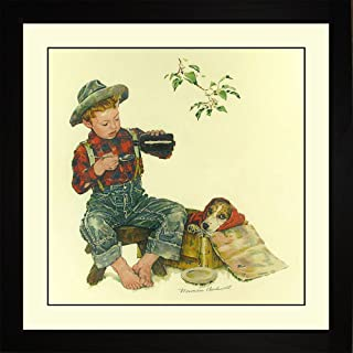 Norman Rockwell PUPPY - MEASURE OF LOVE Framed Boy Medicine Dog Wall Hanging Art Gift