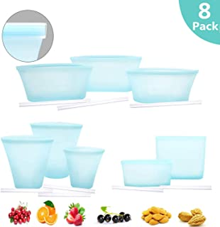 Reusable Silicone Food Storage Bag, 8 Pack Zip Lock Containers, BPA Free Cup Pattern Dishes Storage Preservation Bags for Fruits Vegetables Snacks, Microwave Dishwasher & Freezer Safe. (BLUE)