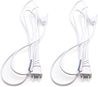 Timiy 180cm/5.9ft Length White Lamp Power Cord with Dimmer Switch AC 250V/110V for Kitchen, Bedroom, Bathroom(2Pcs)