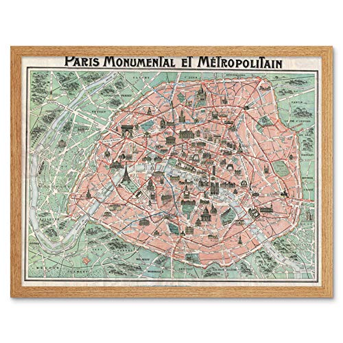 Wee Blue Coo Robelin Paris Monument Map French Art Print Framed Wall Decor 9X7 Inch París Monumento Mapa francés Pared
