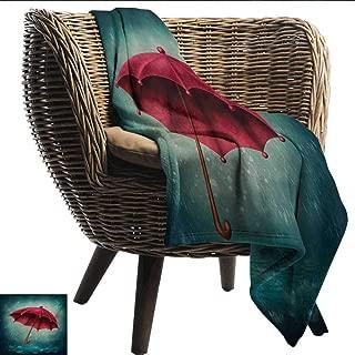 EwaskyOnline Winter Sofa Cushion Authentic Retro Wooden Handle Under Fall Rainfall Torrent of Rain Urban Image Art Print Throw Blanket Adult Blanket 84