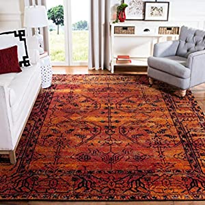 Safavieh Vintage Hamadan Collection VTH216C Oriental Traditional Persian Non-Shedding Stain Resistant Living Room Bedroom Area Rug, 9′ x 12′, Orange