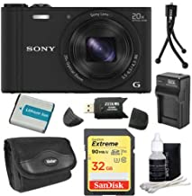 Sony DSC-WX350/B DSC-WX350 WX350 WX350B WX350/B DSCWX350B 18 MP Digital Camera with 20x Optical Image Stabilized Zoom and 3-Inch LCD (Black) 32GB Bundle with 32GB SD Card, Spare Battery + More